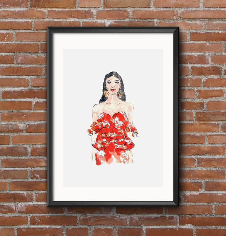 FREE SHIPPING* Fashion illustration print Ruffles by akvileles on Etsy  Ready to wear fashion, girl's portrait, red dress.