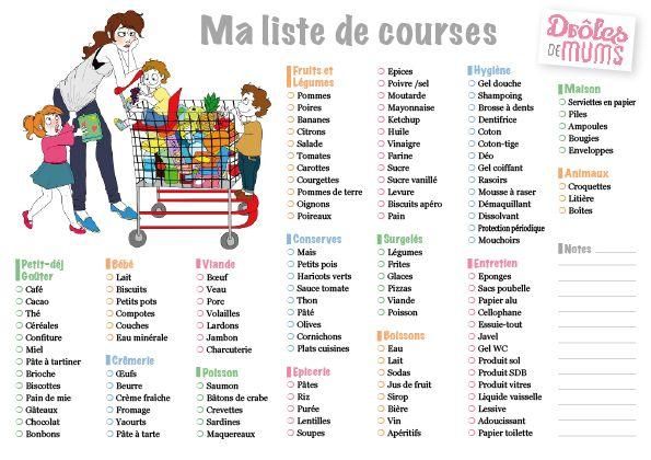 Free Imprimables Liste de Course - Le Blog des Dames