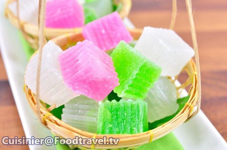วุ้นกรอบ (ขนมไทย) Crispy Jelly (Thai Traditional Dessert) - FoodTravel.tv สูตรอาหาร ทำอาหาร