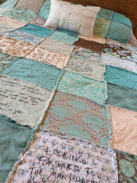 WEDDING QUILT // Guest Book // Autograph Rag QuiLT // YOU  Choose Colors, Style // Custom, Handmade, Guestbook Alternative // Complete Quilt