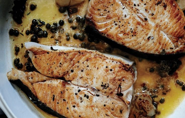 Butter-Basted Halibut Steaks with Capers -hubby made this for dinner tonight and it was amazing and simple!