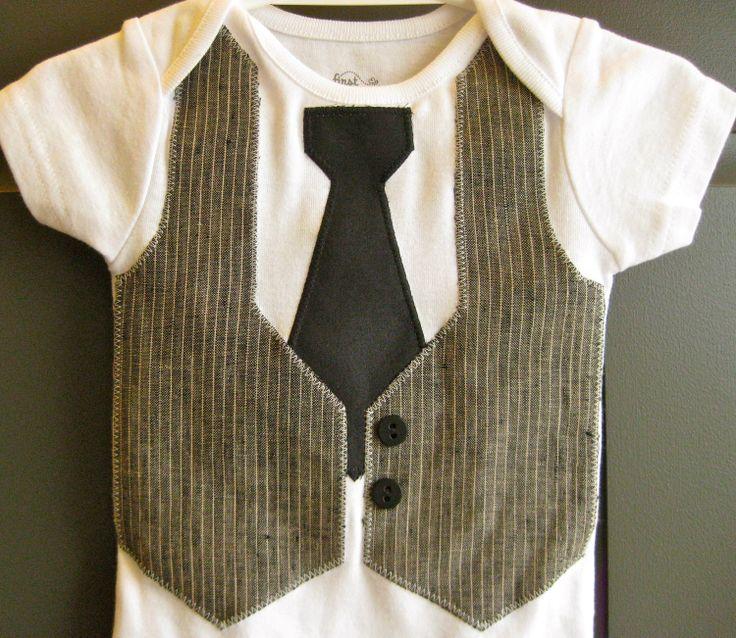 Baby Boy Gray & Black Faux Vest Tie Suit Onesie Bodysuit Long sleeve short sleeve 3 6 9 12 18 24 month. $23.00, via Etsy.