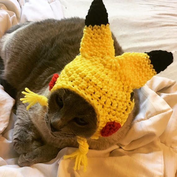 Pikachu Hat for your cat! Cat costume MADE to order,  PURRfect gift for the Pokemon fan!