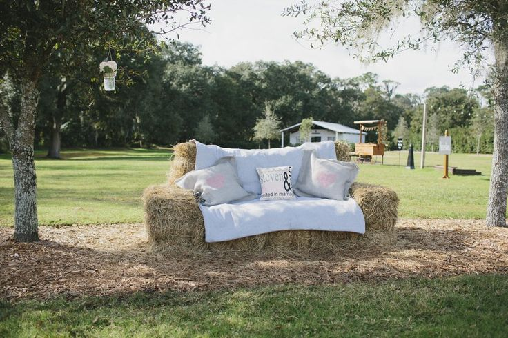 Hay Bale Lounge Seating for your rustic farm wedding // Rustic Wedding Chic