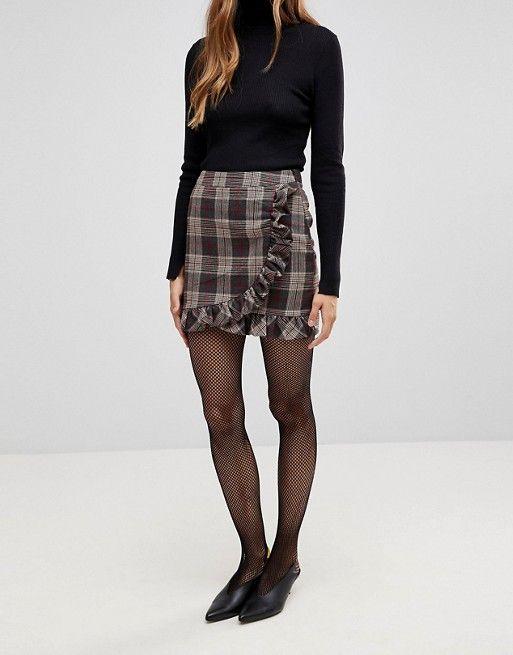 02d59c4b10 Parisian Check Mini Skirt With Ruffle Detail   Closet   Check mini ...