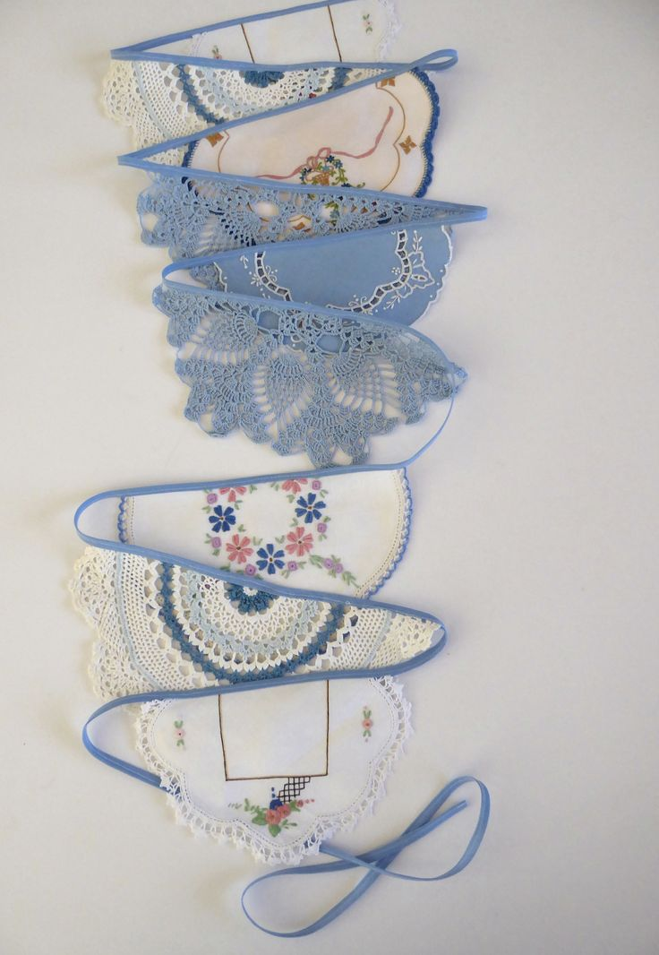 Handmade doily bunting, blue and white, mantle or room decoration, garland, eco friendly by TheLinenDrawer on Etsy