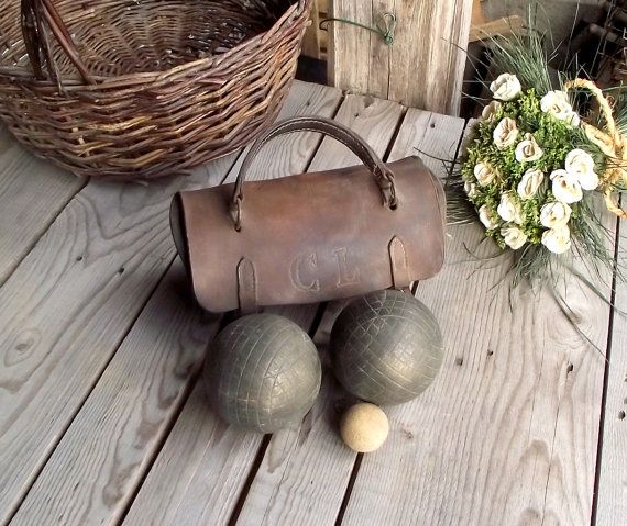 Large French Petanque Boules  Set of 2  Iron by MyFrenchBricABrac