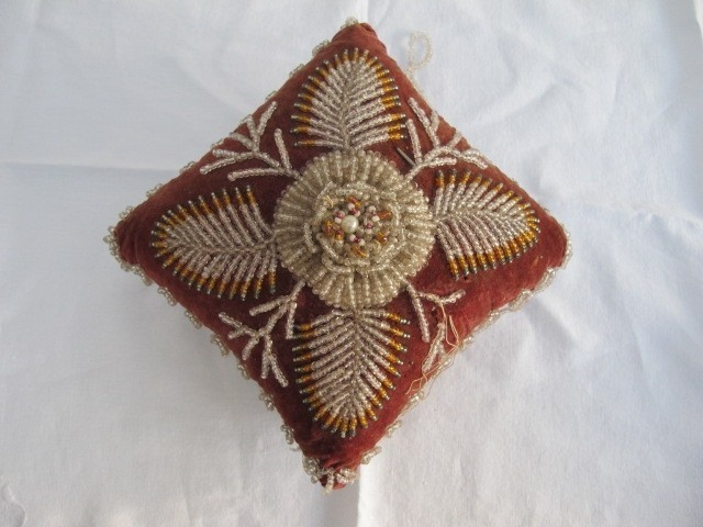 victorian beaded pin cushion, Ebay