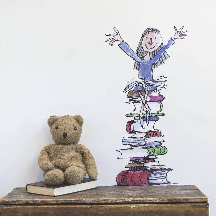 November 2014: matilda on her books roald dahl wall sticker by oakdene designs | notonthehighstreet.com I like the bear.