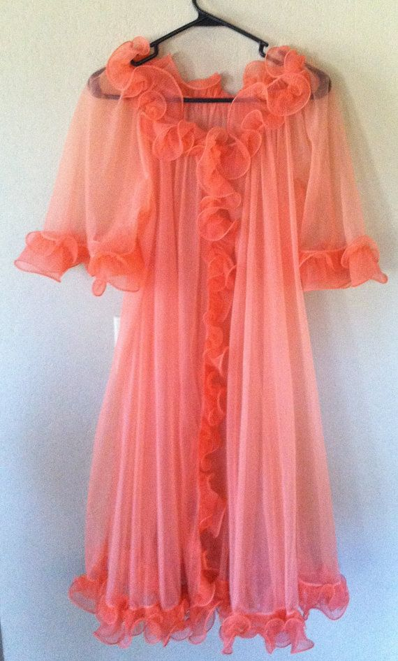 1960s Flirty Peignoir Robe Aprcot Coral Chiffon by ChevyLovesLaura, $20.00