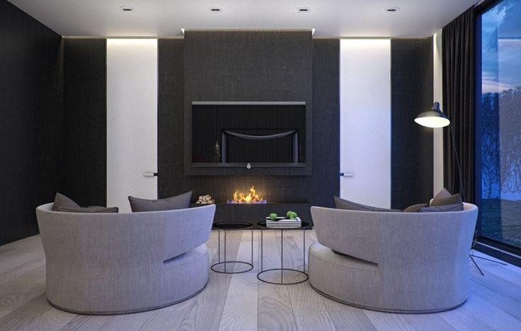 Wohnzimmer in Charcoal Farbe und zwei XXL-Sessel statt Sofa