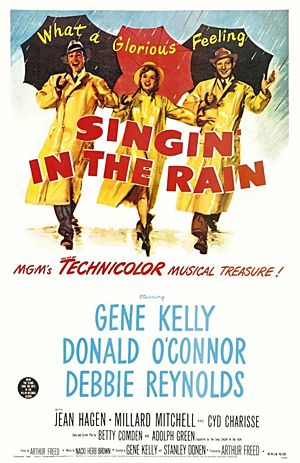 Gene Kelly, Donald O'Connor, Debbie Reynolds. Director: Stanley Donen, Gene Kelly. IMDB: 8.3 __________________________ https://en.wikipedia.org/wiki/Singin'_in_the_Rain http://www.rogerebert.com/reviews/singin-in-the-rain-1998 https://www.rottentomatoes.com/m/singin_in_the_rain/ http://www.tcm.com/tcmdb/title/418/Singin-in-the-Rain/ Article: http://www.tcm.com/tcmdb/title/418/Singin-in-the-Rain/articles.html http://www.allmovie.com/movie/singin-in-the-rain-v44857