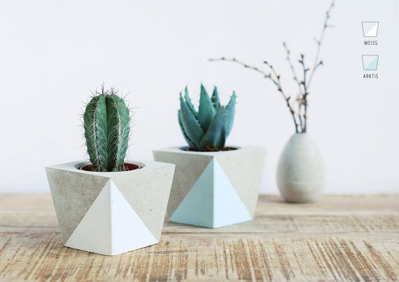 Flower pot made of concrete by motoroto on Etsy