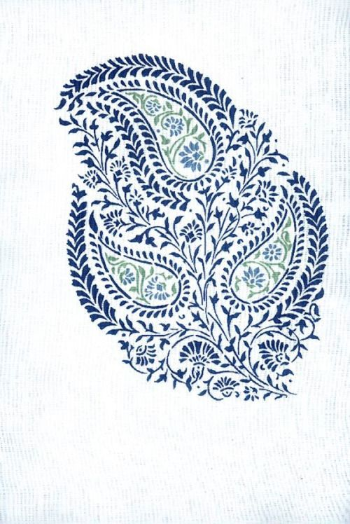 Three blue paisleys with green details