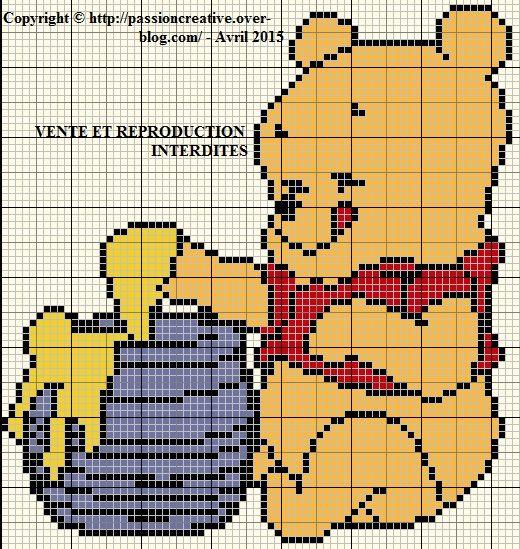 Grille gratuite point de croix : Winnie l'ourson et son pot de miel - Le blog de Isabelle
