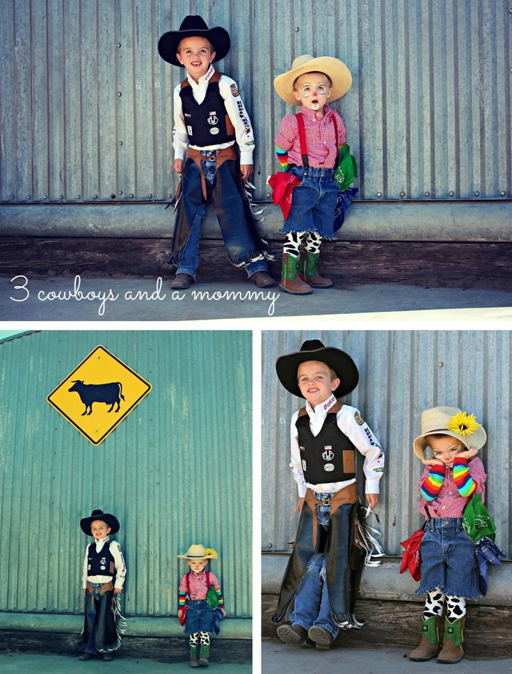 Cutest cowboy costumes ever; a bull rider and little rodeo clown. DIY