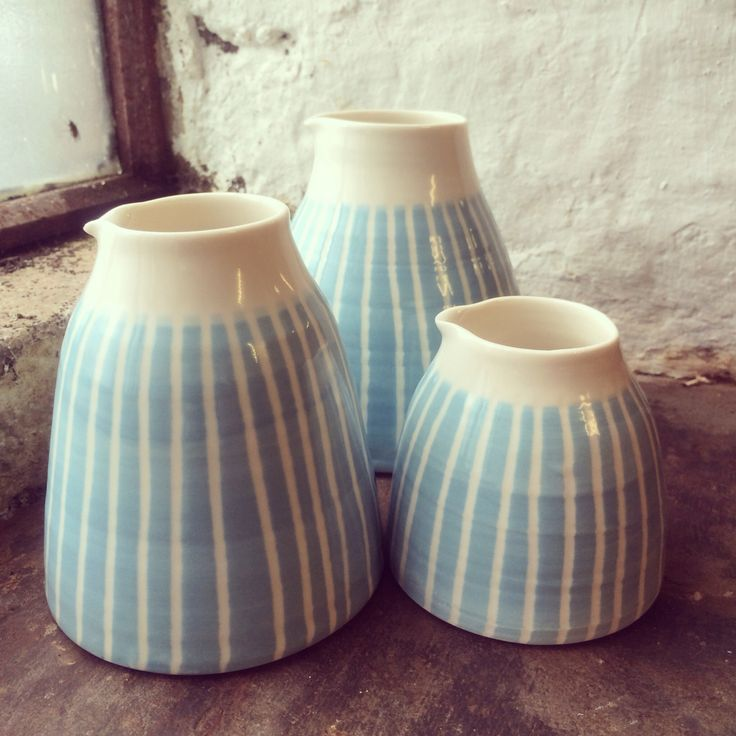 New jugs! Porcelain with blue and grey stripes ..