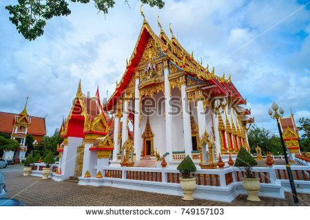 Phuket, Thailand - OCTOBER 15, 2017- Buddhist church at Chalong temple or Wat Chalong Temple, the landmark and must visit place for protect and bring good luck in Phuket , Southern of Thailand.