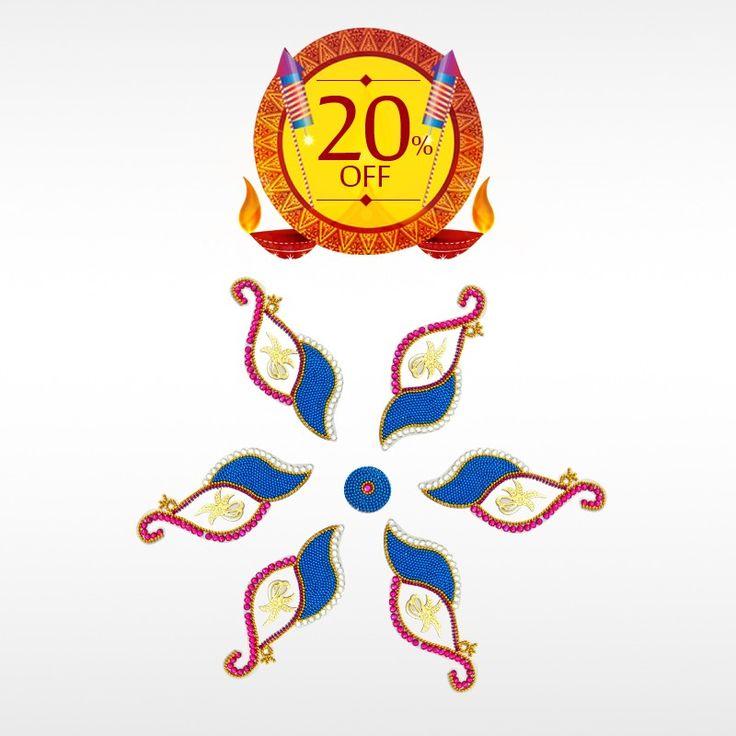 Order authentic Designer Archana Peacock #Rangoli this #Diwali and get 20% off on #DiwaliDecorationItems.  #BringHomeFestival