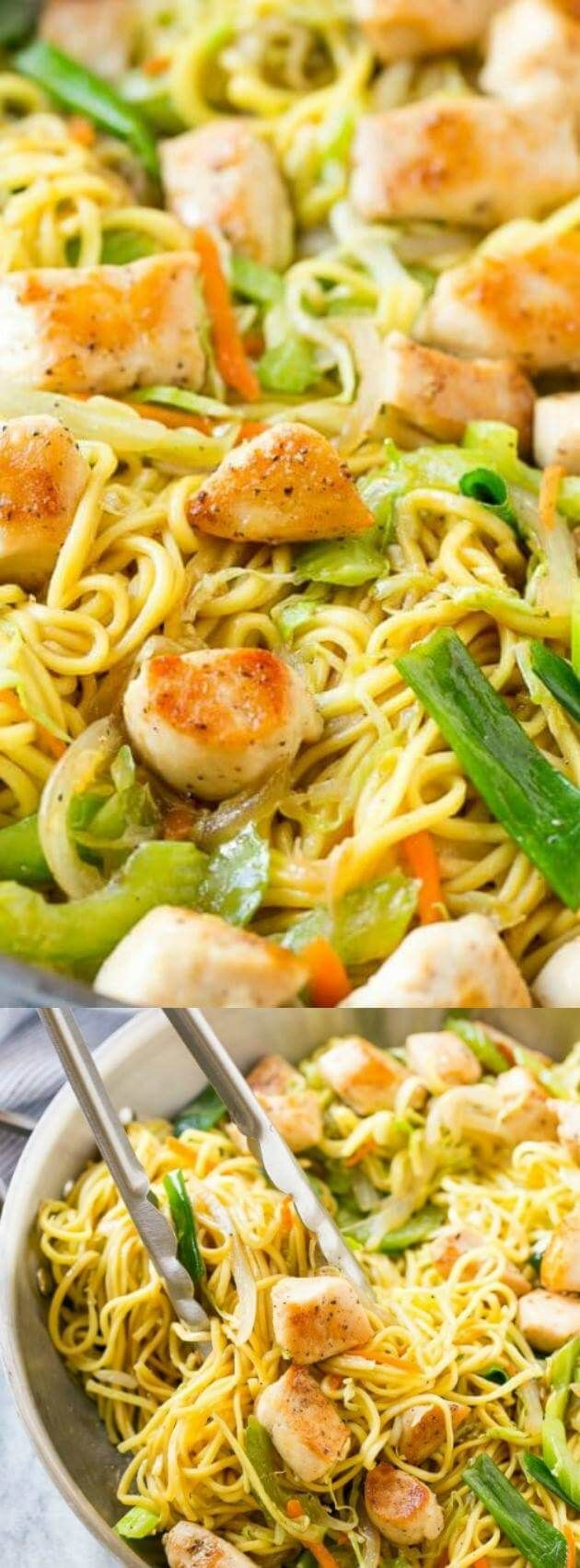 This Chicken Chow Mein from Dinner at the Zoo is full of seasoned chicken, veggies, and noodles. It's all tossed together in the most amazing savory sauce!