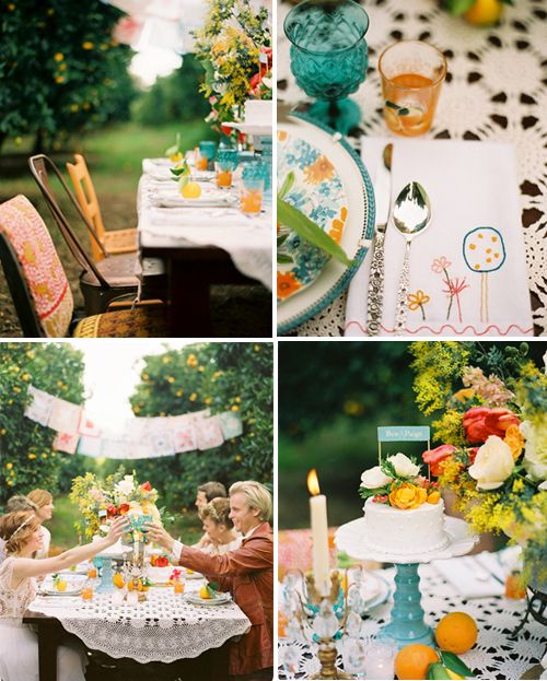 love the colors, tangerine and teal with a splash of pinks. love the mix-n-match chairs.: Party'S, Garden Party, Color, Dinner Parties, Dinner Party, Garden Parties, Style Files, Party Ideas