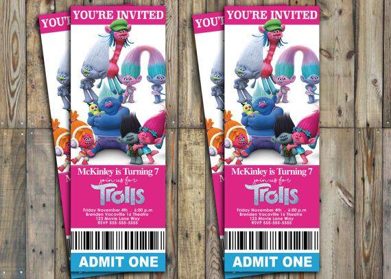 Trolls Movie Ticket Invitation by SweetandSaltySisters on Etsy