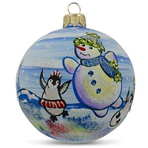 Snowman with Penguin Glass Ball Christmas Ornament Holiday Gift Idea