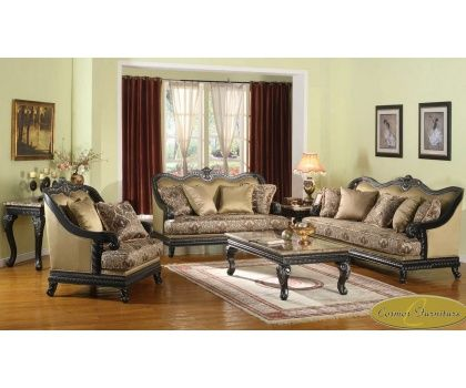 CMS Juliard Victorian Design Tan Fabric Upholstery With Black Decorative Wood Trims Traditional Living Room