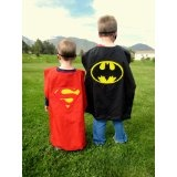 Reversible RED Superman Batman Superhero Cape Costume with Mask