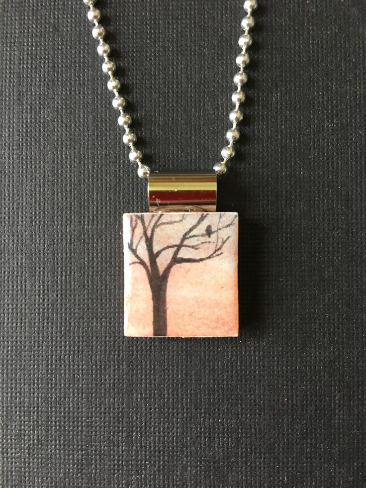 Watercolor tree handmade jewelry, recycled scrabble tile necklace, sunset tree pendant, handmade necklace, tree on scrabble tile pendant by InSmallPackages on Etsy