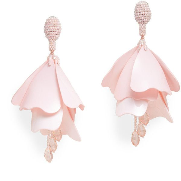 Oscar de la Renta Pink Impatiens Flower Drop Earrings ($25) ❤ liked on Polyvore featuring jewelry, earrings, accessories, brinco, pink drop earrings, flower jewellery, drop earrings, pink earrings and blossom jewelry