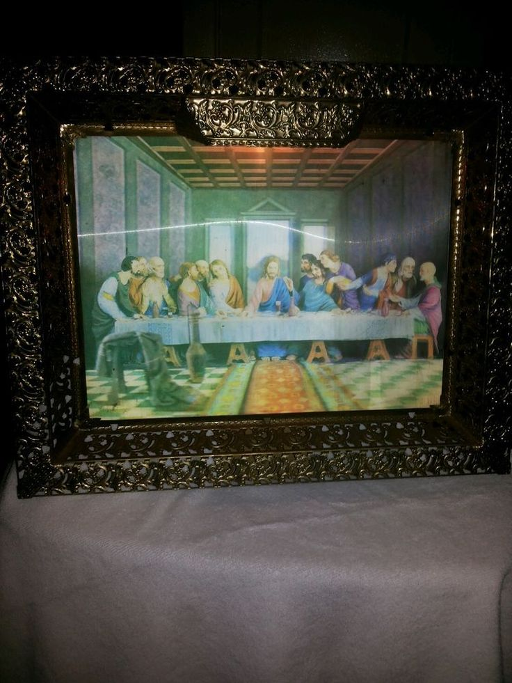 VTG 21 X17  Lighted Last Supper 3-D Hologram Picture With Metal Frame Wall Hang