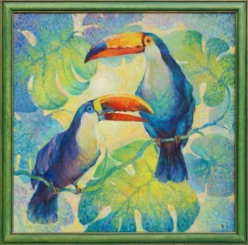 Анна Чепель. Туканы, 60×60 см.,холст, масло, 2002. Яркие тропические птицы на освещенном солнцем фоне из листьев монстеры. ______________________________  Anna Chepel. Toucans, 60×60 cm, a canvas, oil, 2002. Bright tropical birds on the background lit with the sun from monstera leaves.