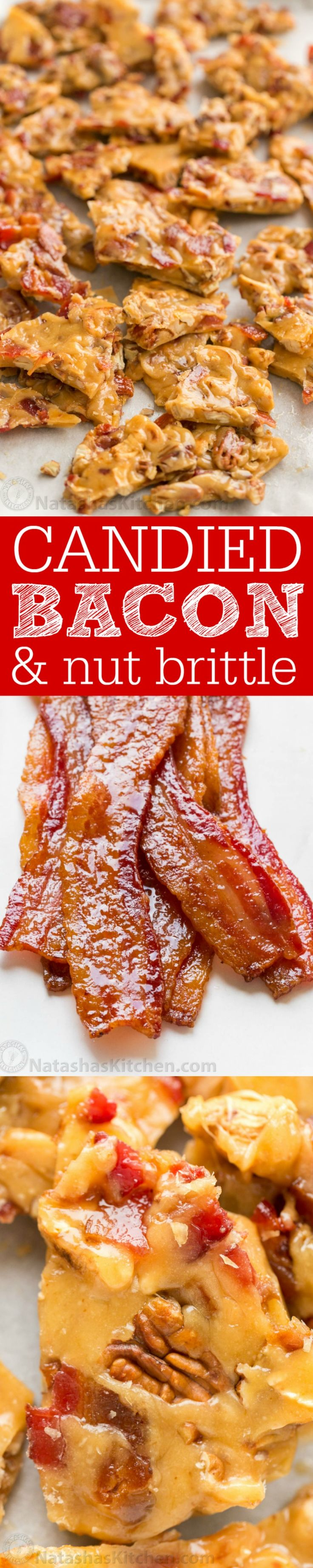 This Candied Bacon Brittle is loaded with nuts and candied bacon. It's unusual but CRAZY GOOD! Candied Bacon Brittle is a wonderful homemade gift idea! Recipe sponsored by Tabasco | natashaskitchen.com
