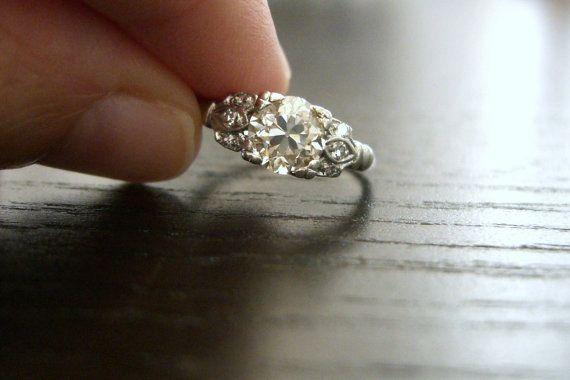Vintage, Edwardian, Platinum Diamond, Engagement Ring, Wedding Ring 1.21 carats