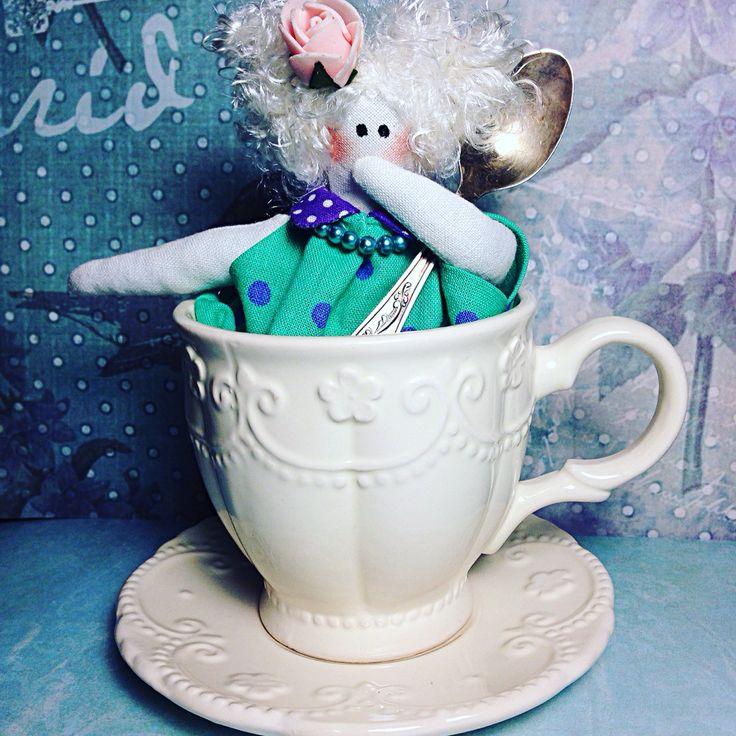 Куколка в стиле Тильда мисс Преппорт ! Милая малышка живёт в чайной чашке. Любит шоколадные конфеты. Doll Hand made. Style Tilda