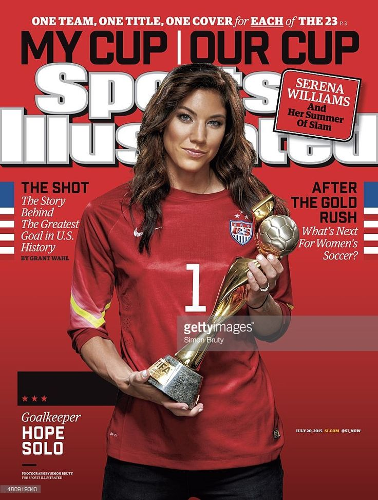 Portrait of US Women's National Team goalie Hope Solo (1) holding trophy during photo shoot at ABC News' Good Morning America Studio. Cover. Simon Bruty