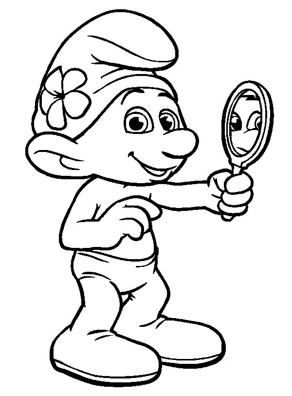 Vanity Smurf The Mirror Coloring Pages For Kids Printable Smurfs