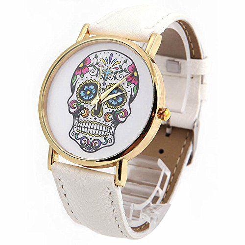 SAMGU Frauen Uhren Quarz Uhr Art und Weiseschädel Uhren Damen Herrenuhr Sportuhr Skull watches Farbe Weiß - http://uhr.haus/samgu/samgu-damen-studenten-armbanduhren-quarz-analog-23