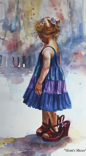 "Carol Boudreau WATERCOLOR ""A child who is too eager to grow up not realizing what she is missing out while being in her youth while being too desirous of growing up"""