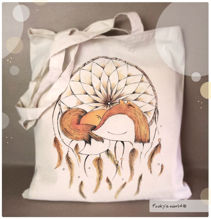 #handpainted #bag #dreamcatcher #fox #pooky