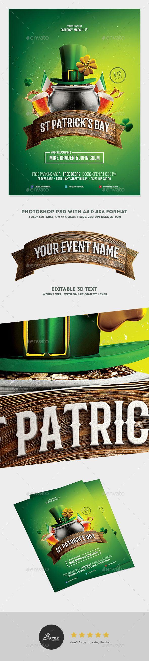 Saint Patricks Day Party Flyer — Photoshop PSD #psd #poster • Download ➝ https://graphicriver.net/item/saint-patricks-day-party-flyer/19514731?ref=pxcr