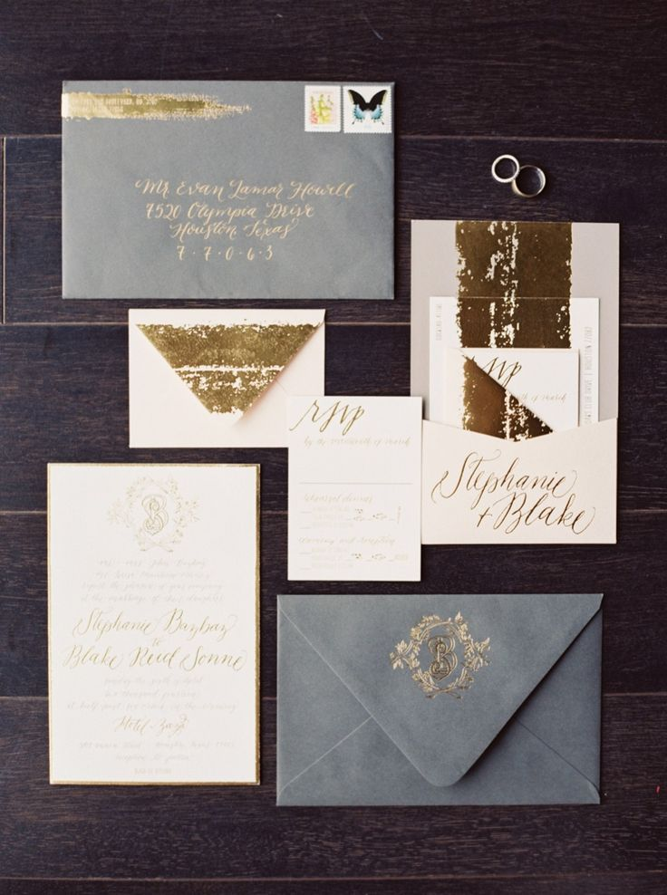 Gold and grey wedding invitation suite | #gold Photography: Taylor Lord Photography - taylorlord.com Stationery Designer: Papellerie - www.papellerie.com/ Read More: http://www.stylemepretty.com/2014/07/29/black-tie-houston-wedding-at-hotel-zaza/