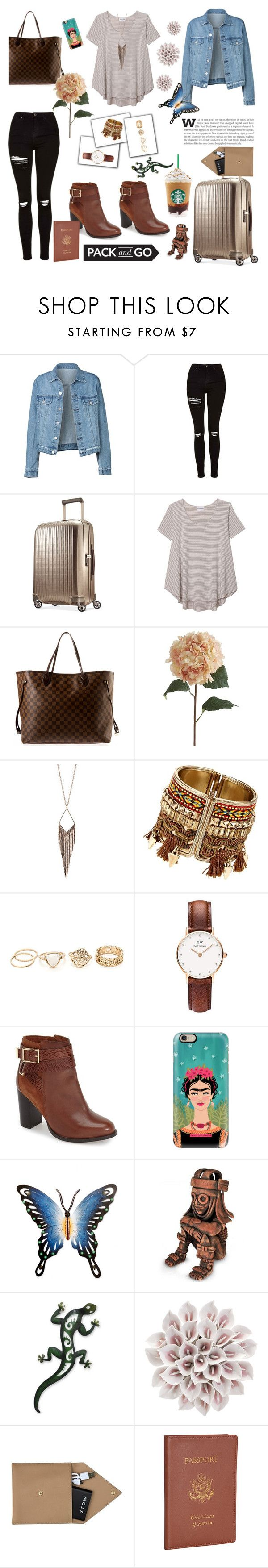 """Pack and Go: Mexico City"" by bellabellica ❤ liked on Polyvore featuring Topshop, Hartmann, Olive + Oak, Louis Vuitton, Pier 1 Imports, Jules Smith, Daniel Wellington, Casetify, NOVICA and STOW"
