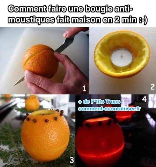 Pas la peine d'acheter un anti-moustiques chimiques mauvais pour la santé ! L'astuce est de faire une bougie anti-moustique avec une orange et des clous de girofle.  Découvrez l'astuce ici : http://www.comment-economiser.fr/bougie-anti-moustiques-fait-maison-que-moustiques-detestent.html