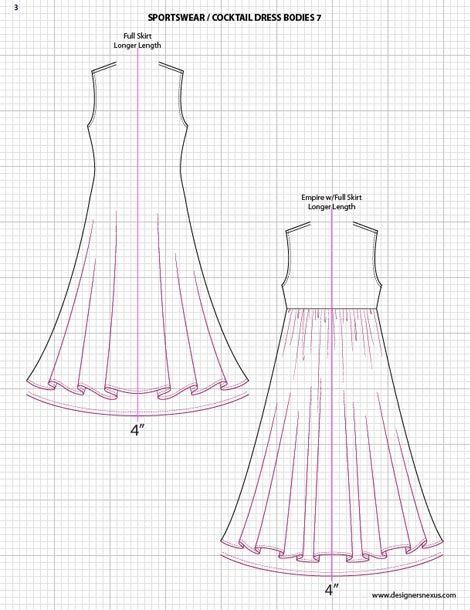 Adobe Illustrator Fashion Sketch Templates - dress sketches. $49.95 - over 1300 mix-&-match garment elements #flatsketch #fashionsketch #fashiondesign