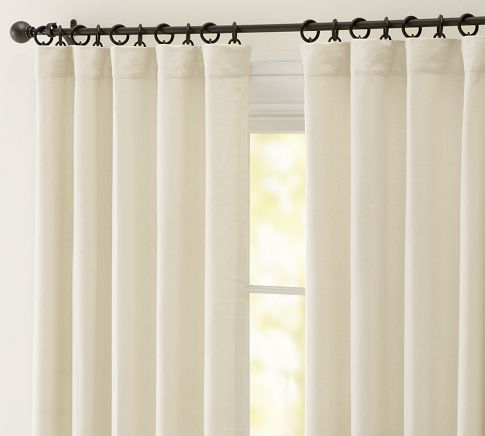 Peyton Linen/Cotton Drape in French Ivory.  Available in double width - perfect for large front window!!!