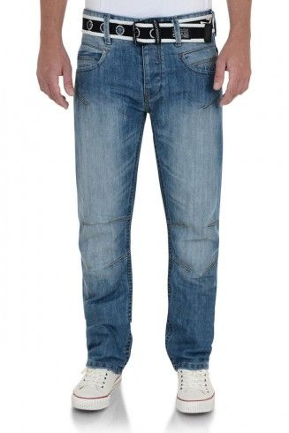 Crosshatch Straight Fit Denim Jeans Oakland Light Wash Blue