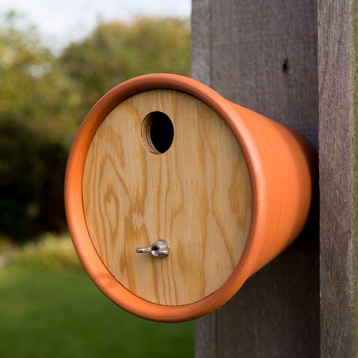 Flower Pot Bird House - Contemporary bird house for a wall or fence. Customise how you like