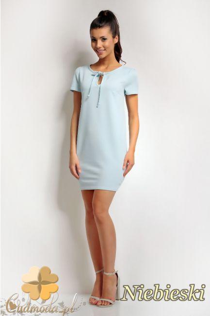 Sukienka mini z wiązaniem na dekolcie.  #cudmoda #moda #ubrania #dresses #kleid #clothes